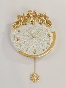 AgréAble Orologio Pendolo Da Muro Via Veneto Ceramica Foglia Oro Fiore Cristalli Craquet