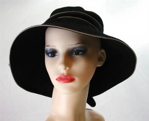 Pia rossini Puerto Coton Nœud Bordure chapeau de soleil femme classique été noir Pierre