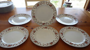 Sheffield Anniversary Porcelain Fine China Dinner Plates White Burgundy Teal 6