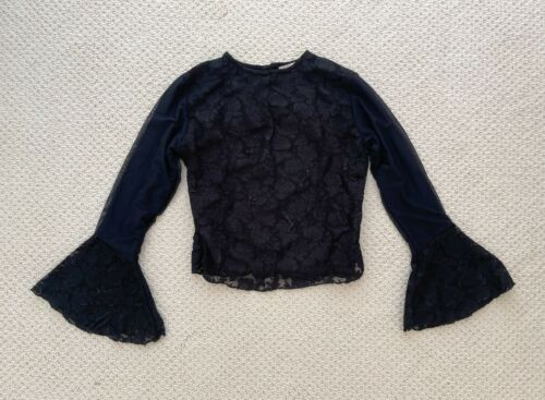 ANNA MEYER Paris Black Lace Blouse Top with Flare… - image 1