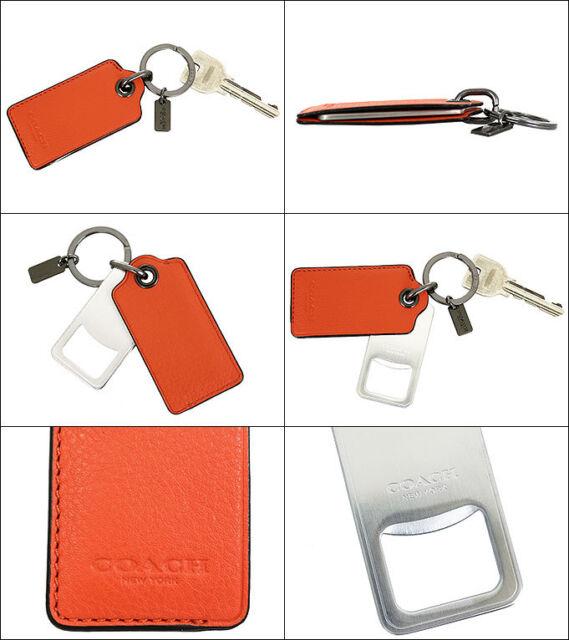Coach F64140 Bottle Opener Key Ring Fob Unisex Leather Orange for ... 863bfc2ba9bf