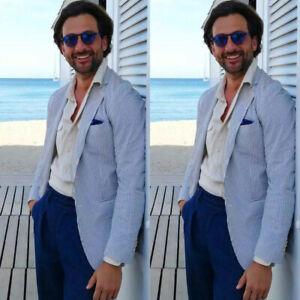 Mens-Summer-Leisure-Sport-Blazer-Seersucker-Suits-Beach-Holiday-Tuxedos-Slim-Fit