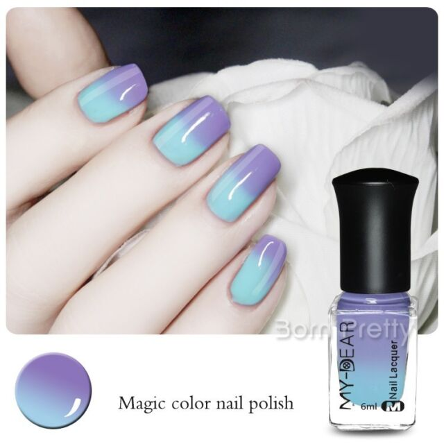 6ml Thermal Nail Art Color Changing Peel Off Polish Varnish Dark to Light Blue