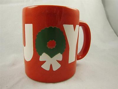 "Christmas Coffee Mug Red White Green ""Joy"" Wreath Waechtersbach West Germany"