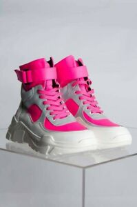 1b2009bf10fc Cape Robbin Unity Pink Bright White Lace Up Platform Chunky Fashion ...