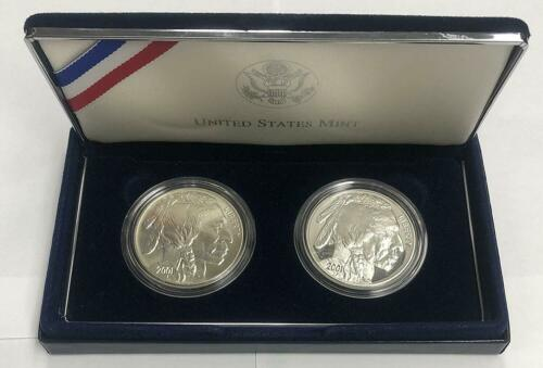 2001 P /& D American Buffalo Proof /& Uncirculated Silver Dollars Comm 2 Coin Lot