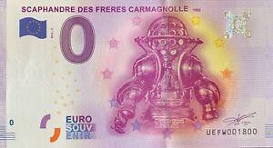 BILLET-0-EURO-SCAPHANDRE-DES-FRERES-CARMAGNOLLE-FRANCE-2016-NUMERO-1800