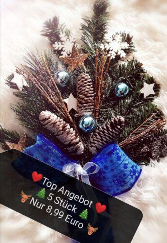 Deko Weihnachten Tannenzweig 5x Künstlich Blumen Winter Zapfen Grün Kranz