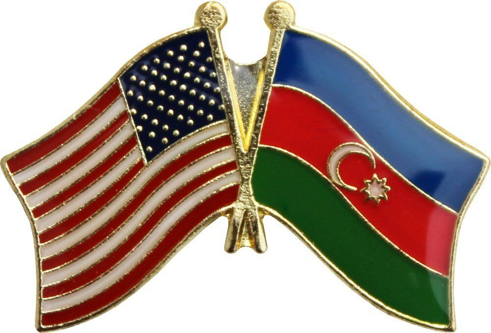 Wholesale Pack of 50 USA American Azerbaijan Friendship Flag Hat Cap lapel Pin