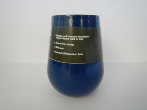 14 Oz Insulated Stainless Steel Stemless Wine Glass Blue Green Red Pink Gray