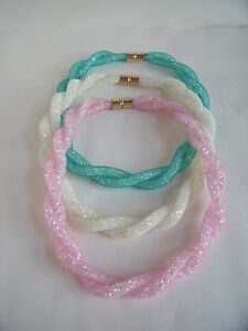 New-Coloured-Mesh-Necklace-in-Cream-Pink-or-Green-with-Crystals-amp-Magnetic-Clasp