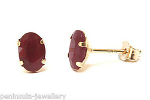 9ct-Gold-Ruby-Oval-Stud-Earrings-Gift-Boxed-Made-in-UK-Christmas-Gift