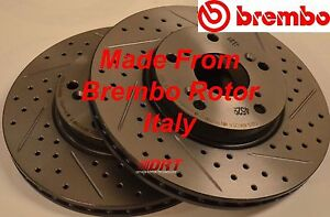 Fits-04-08-TL-Drilled-Slotted-Brake-Rotors-Made-From-Brembo-Blank-Front-Rear-Set