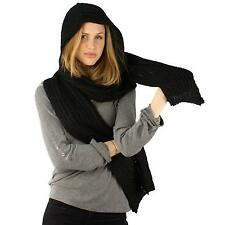 Winter Unisex Soft Pullover Hoodie Channel Knit Ski Hood Long Scarf Wrap Black