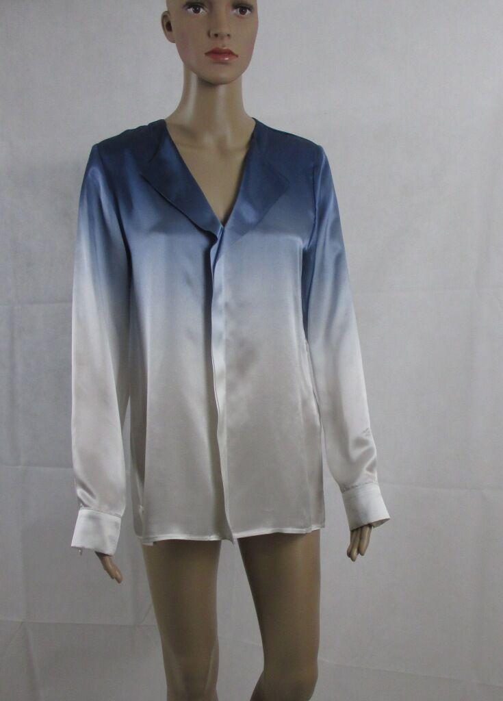 Seiden Shirt in den Sommerfarben blue   white, Größe 34