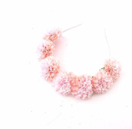 Light Pink Pom Pom Flower Headband Festival Headpiece Hair Crown Garland 3293