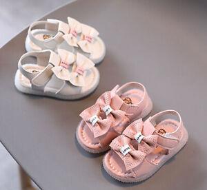 Baby Toddler Kids Girls Casual Open Toe Soft Flat Bow Summer Beach Sport Sandals