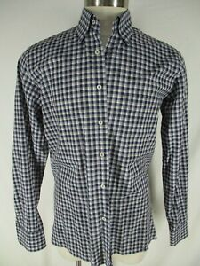 Canali-1934-Mens-Blue-Plaid-Long-Sleeve-Cotton-Shirt-L-Italy-Made