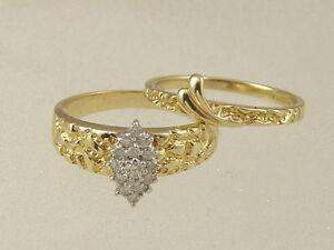 10K NUGGET WEDDING BAND SET 10 KARAT GOLD MARQUISE DIAMOND 2 Pc