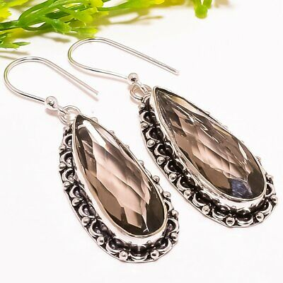 "Jewelry & Watches Smokey Quartz Gemstone Handmade Fashion Jewelry Earring 2.1"" Se5250 Beautiful In Colour"