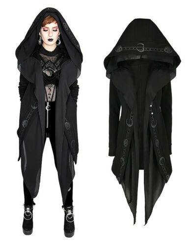 Restyle Hoodie Jacke Kapuze Gothic Nugoth Witchy Schleier Symbole Pentagram Mond