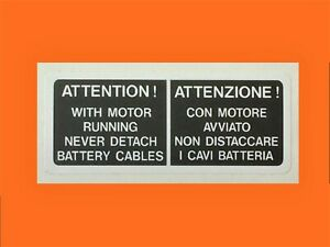 DUCATI 851/888 BATTERY TRAY HIGH VOLTAGE WARNING  DECAL