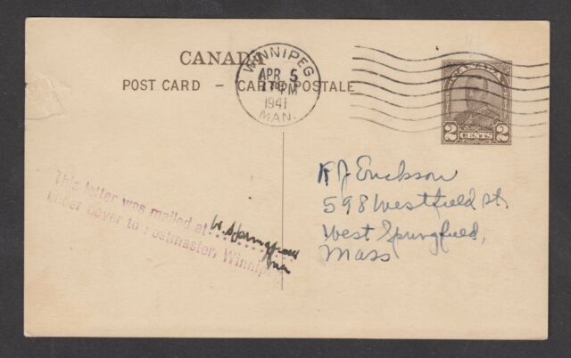 1941 Official pictorial postard of 1932 used at Winnipeg. Handstamped: This lett