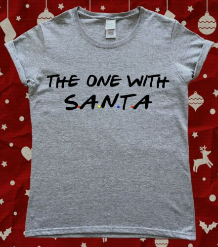 The One With Santa Christmas Friends 90s Ladies T-Shirt