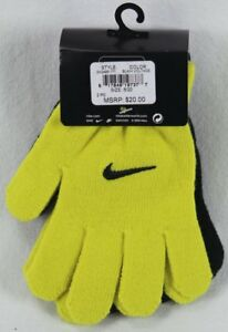 Nike Boys Swoosh Gloves Yellow Black Size 8/20 NWT