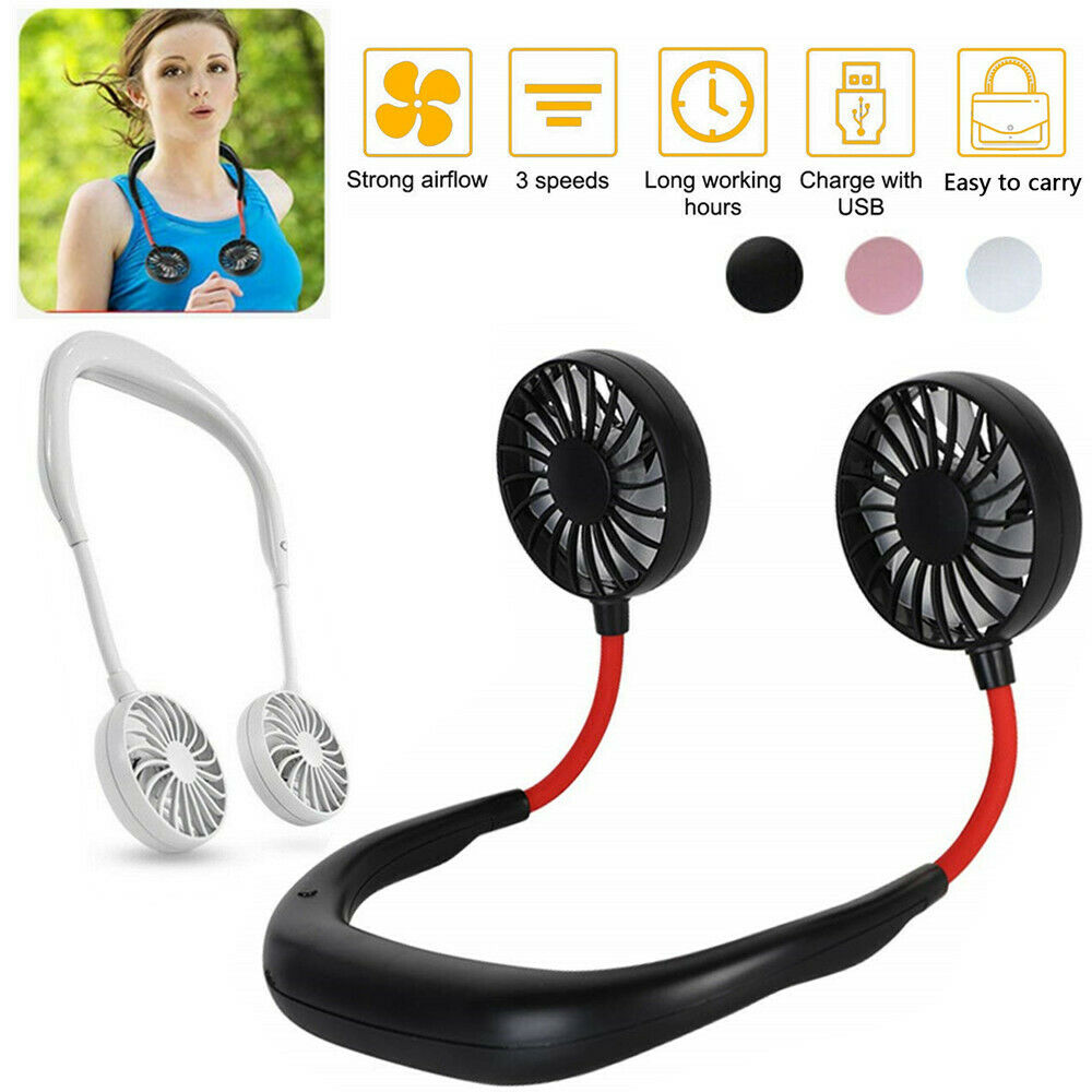 Summer Hands-Free Neck Band Hanging USB Rechargeable Dual Fa