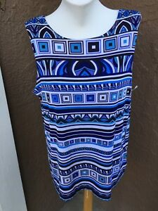 New-Chico-039-s-Travelers-Multicolor-Blue-Batik-Reversible-Tank-Top-3-XL-16-18-NWT