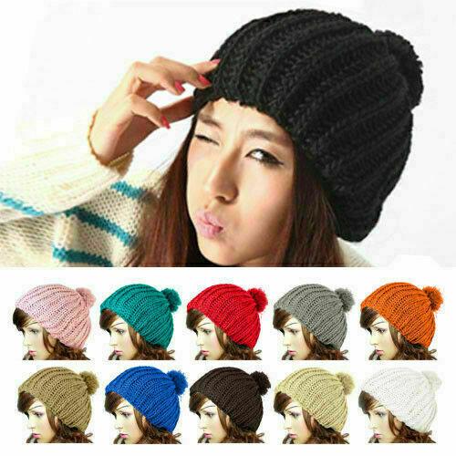 Fashion Womens Lady Wooly Knitted Beanie Warm Winter Cap Pom Pom Bobble Hat MW