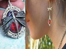 Dragonfly Necklace & Earrings Set Fire opal Sterling Silver Finish Free US SHIP
