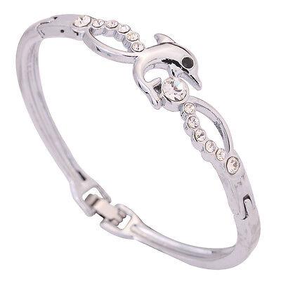 Luxurious Jewelry Silver Plated Bangle Dolphin Play Round Rhinestone Bracelet