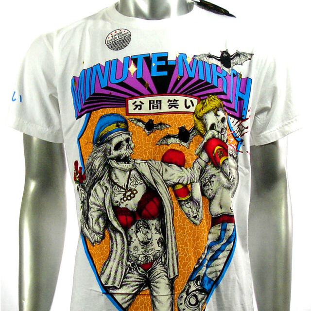 Minute Mirth T-Shirt Tattoo bmx Rock H133 B133 Sz M Biker Skate Board Indie Vtg