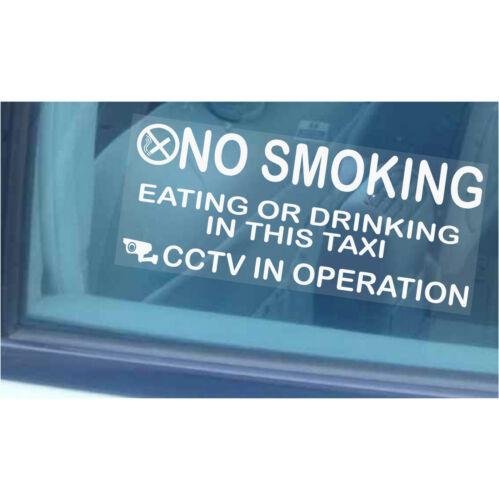 2 x Taxi Minicab Avertissement stickers-no smoking,eating,drinking-cctv en fonctionnement