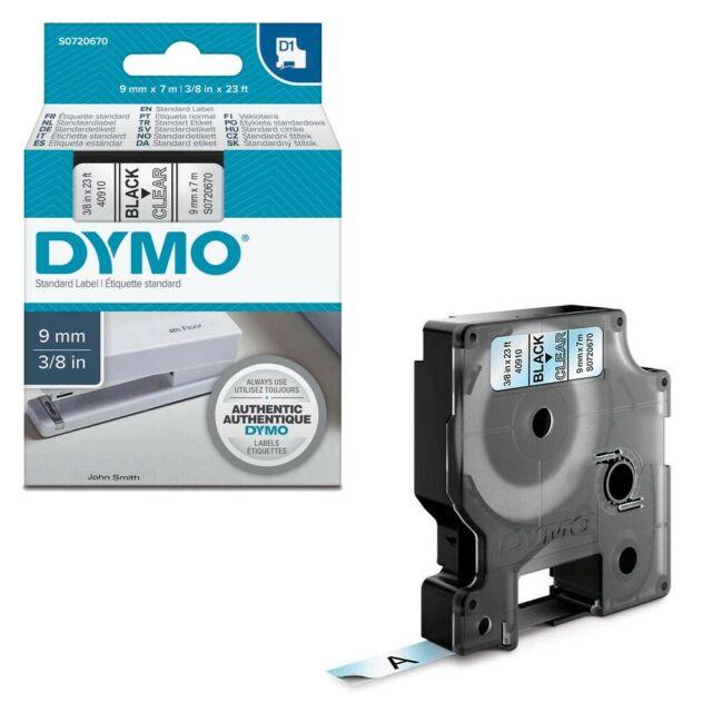 DYMO Beschriftungsband D1 schwarz auf transparent 9 mm