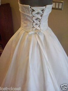 bf45a18fdf08b Image is loading Maggie-Sottero-White-Strapless-Wedding-Dress-Bridal-Ball-
