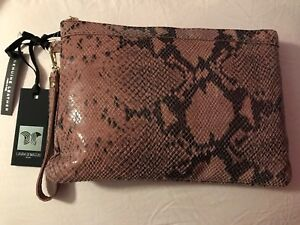 6e7944418305 Laura Di Maggio Snake-Print Pink/Gray Leather Italy Clutch Bag Purse ...