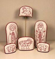 Redwork Nativity 6-piece Figure Set Posy Collection Embroidery Kit