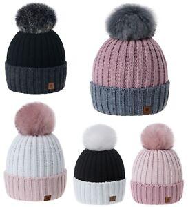 Women-Winter-Hat-Beanie-Hats-Girls-Knitted-Fashion-Pom-Pom-Fleece
