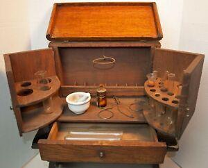 Antique-1870-039-s-Apothecary-Pharmaceutical-Oak-Medicine-Cabinet-Box-Accessories