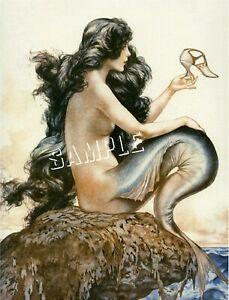 FRENCH FANTASY MERMAID w. SHOE CANVAS Art Deco PRINT