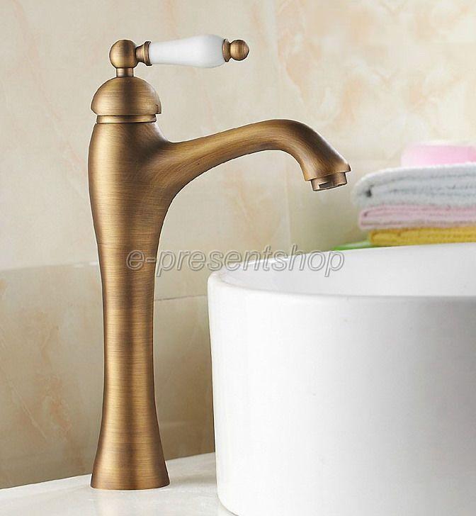 Laiton antique Céramique Poignée Hot Cold Mitigeur Salle de bains bassin robinet Bnf104