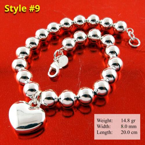 Bracelet Bangle Real 925 Sterling Silver S//F Solid Bead Link Tbar Heart Design