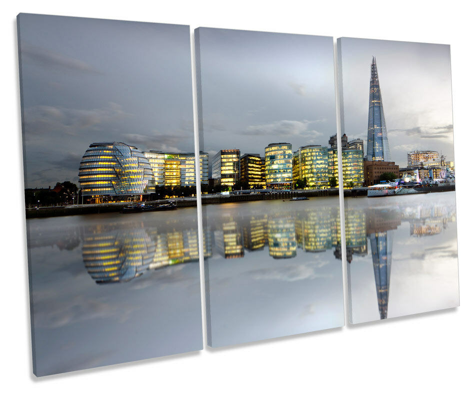 London City Skyline TREBLE CANVAS WALL ART Box Framed Framed Framed Picture 6fbfcc