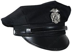 Vintage-US-American-POLICE-FORCE-8-POINT-VISOR-CAP-Officer-Hat-All-Sizes-Black