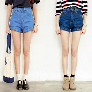 womens high waisted denim cuff shorts light medium dark