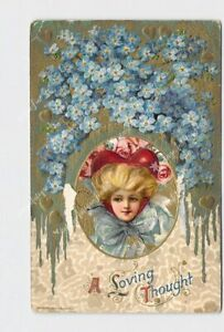 PPC-POSTCARD-VALENTINE-WINSCH-GIRL-HEART-HAT-ROSES-FORGET-ME-NOT-EMBOSSED