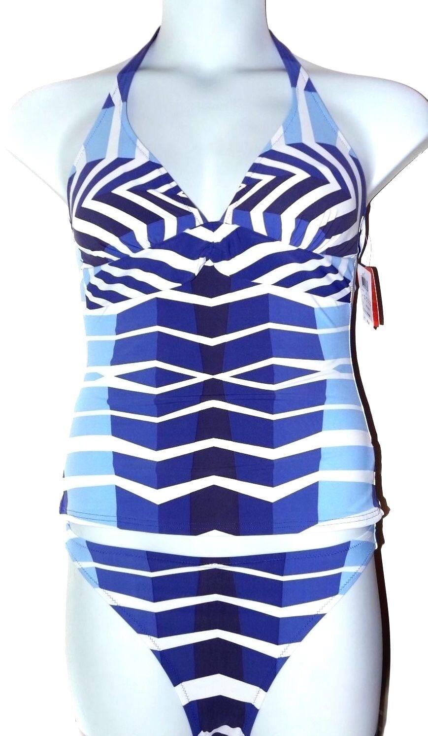 126 NWT GOTTEX GEOMETRIC DECO 2 Piece Tankini Bikini Swimsuit Size 6 36 B Cup